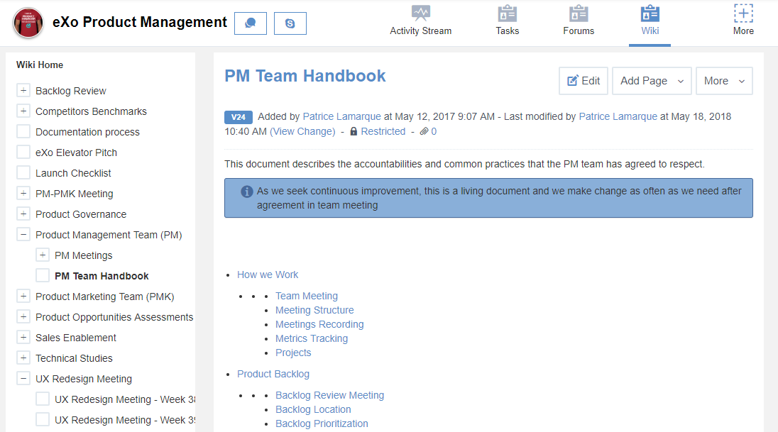 eXo Platform : Product Management space
