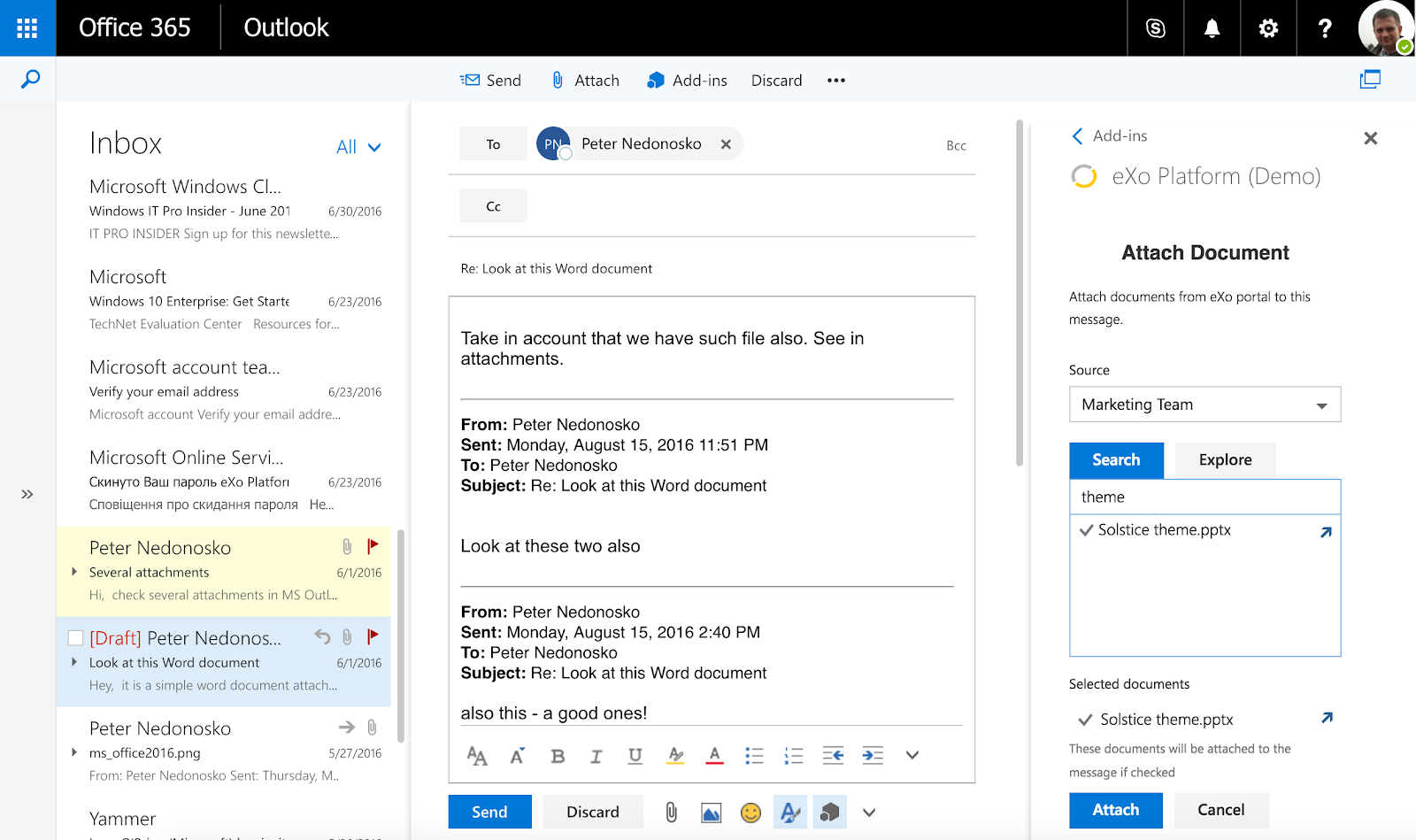 eXo : Outlook integration