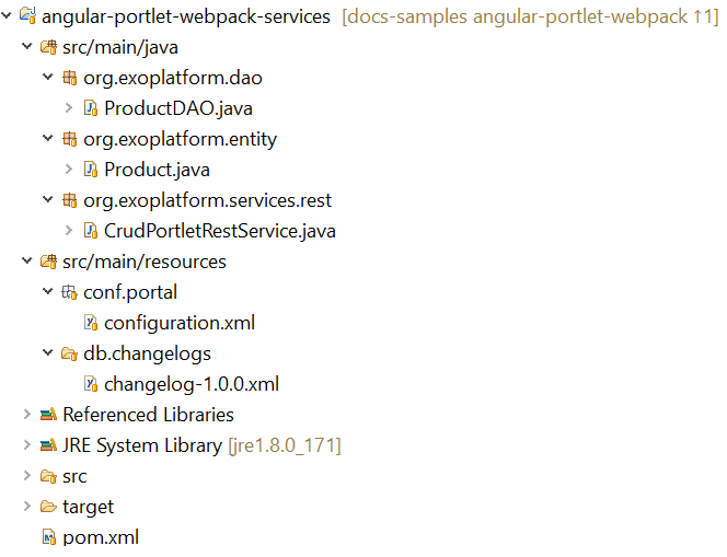 develop CRUD rest services called by Angular