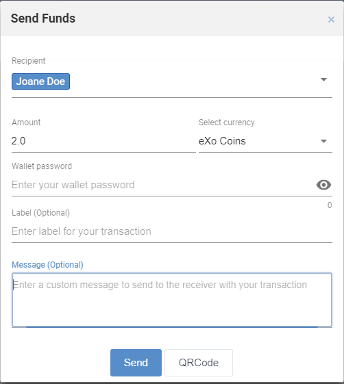 Send and receive funds at eXo Platform