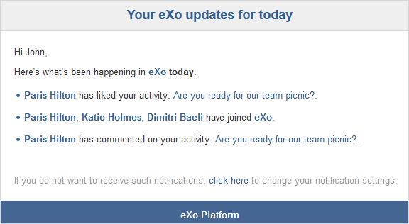 Digest Notification par email - eXo Platform
