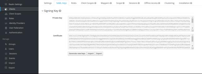 Export SAML Key